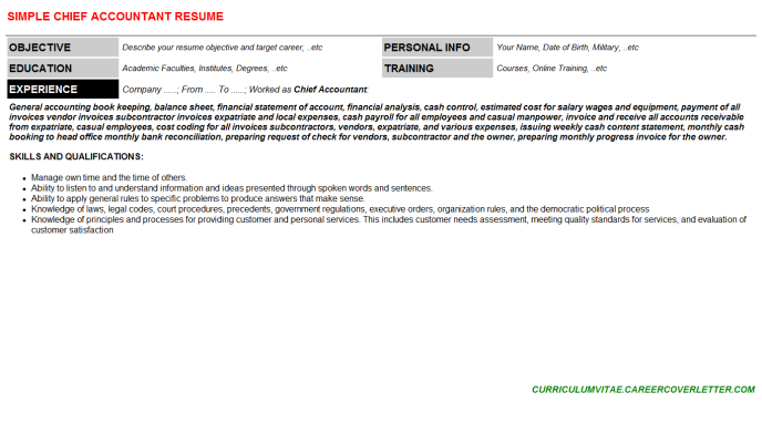 Chief Accountant Resume Template (#137310)