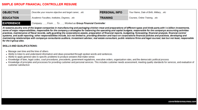 Group Financial Controller CV Cover Letter & Resume Template ...