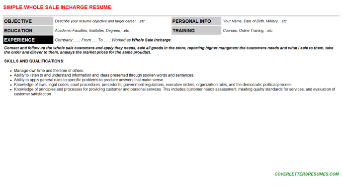 Whole Sale Incharge Resume Template