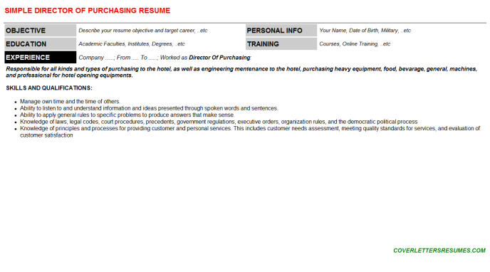 Director Of Purchasing Resume Template (#4813)