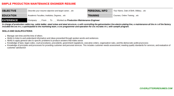 Production Maintenance Engineer Resume Template