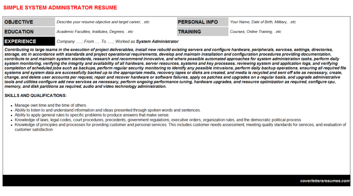 System Administrator Resume Template (#52815)