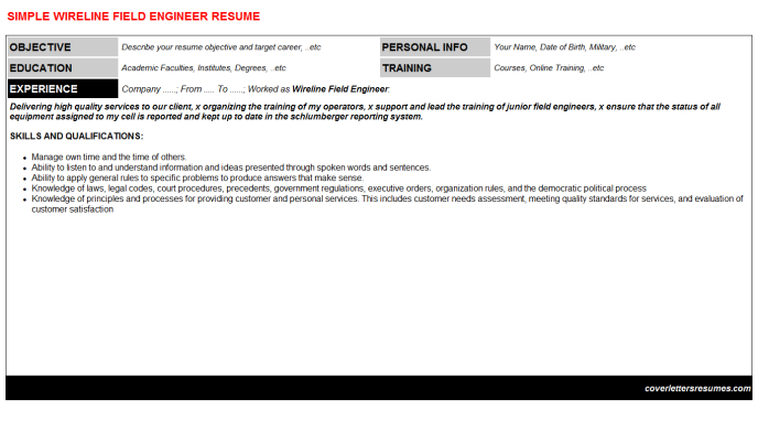 Wireline Field Engineer CV Cover Letter & Resume Template ...