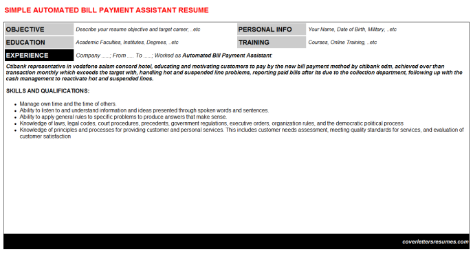 Automated Bill Payment Assistant Resume Template