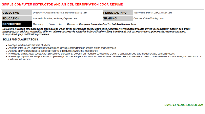 Computer Instructor And An Icdl Certification Coor CV Cover ...