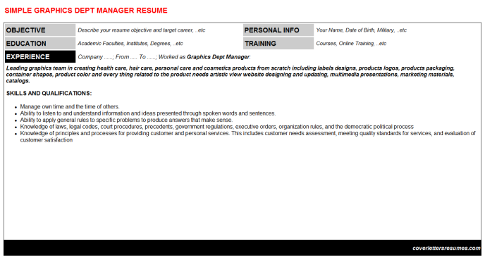 Graphics Dept Manager Resume Template