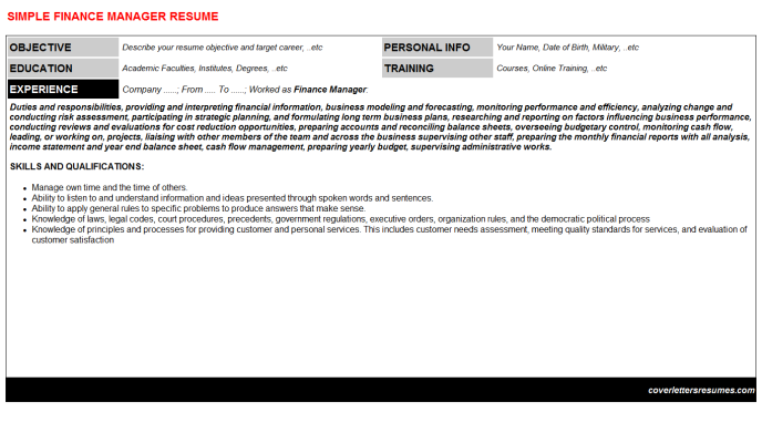 Finance Manager Resume Template (#31317)