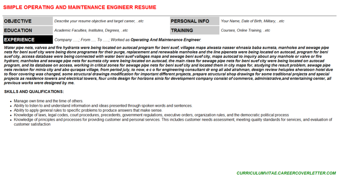 Operating And Maintenance Engineer Resume Template