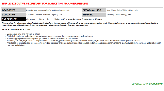Executive Secretary For Marketing Manager Resume Template (#134318)