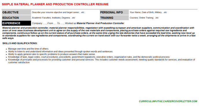 Material Planner And Production Controller CV Cover Letter & Resume ...