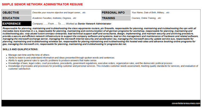 Senior Network Administrator Resume Template (#318)