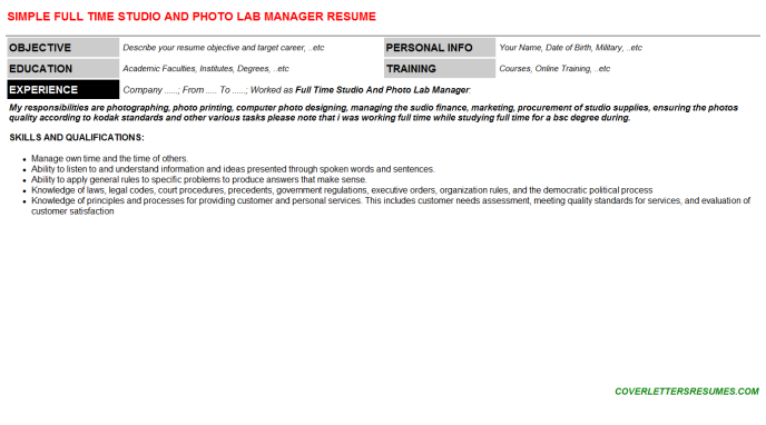 Full Time Studio And Photo Lab Manager Resume Template (#5031)