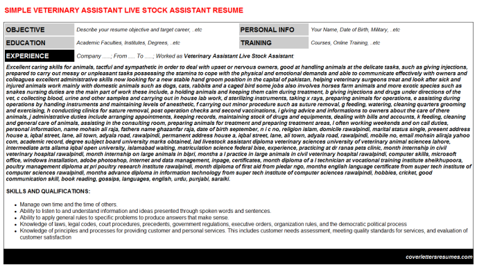 Veterinary Assistant Live Stock Assistant CV Cover Letter ...
