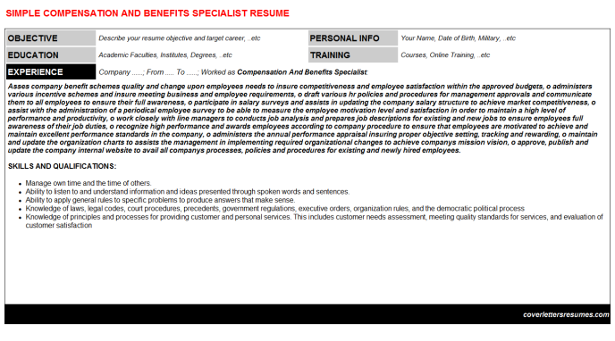 Compensation And Benefits Specialist Resume Template