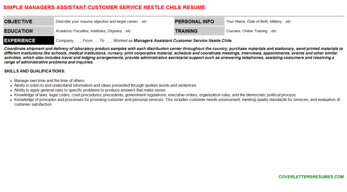 Managers Assistant Customer Service Nestle Chile Cv Cover