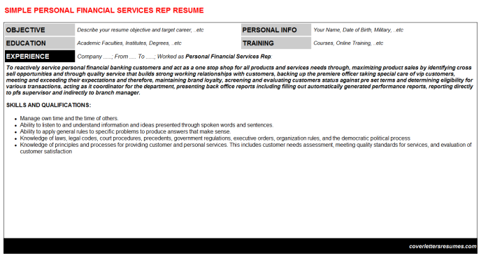 Personal Financial Services Rep Resume Template (#821)