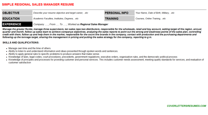 Regional Sales Manager Resume Template (#139821)
