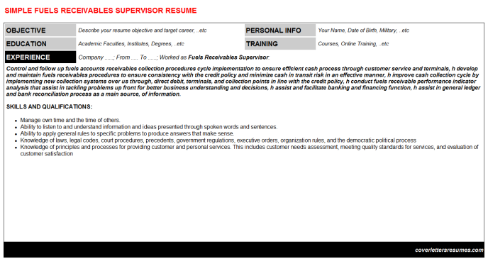 Fuels Receivables Supervisor Resume Template