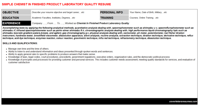 Chemist In Finished Product Laboratory Quality Resume Template (#14322)