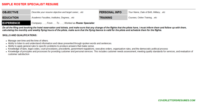 Roster Specialist Resume Template (#3822)