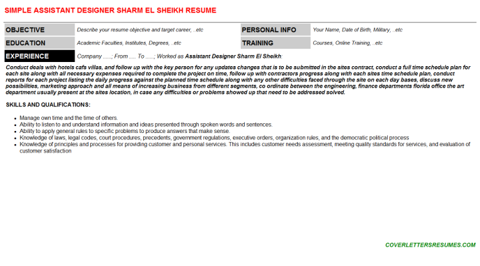 Assistant Designer Sharm El Sheikh Resume Template