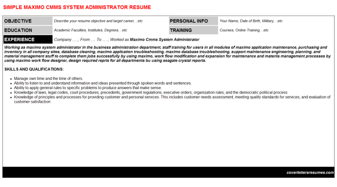 Maximo Cmms System Administrator CV Cover Letter & Resume ...
