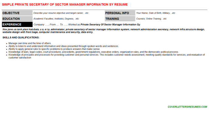 Private Secertary Of Sector Manager Information Sy Resume Template (#72326)