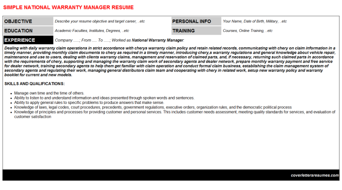 National Warranty Manager CV Cover Letter & Resume Template ...