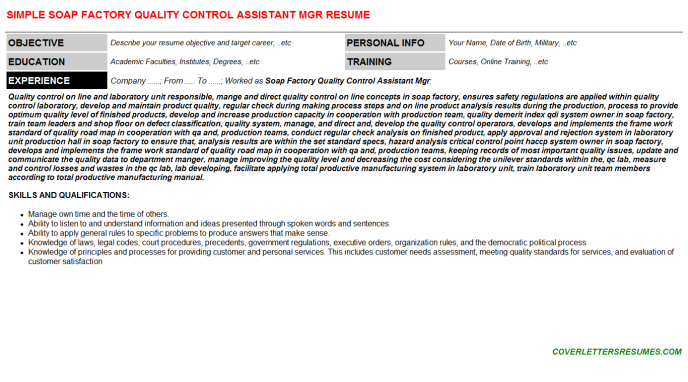 Soap Factory Quality Control Assistant Mgr CV Cover Letter ...