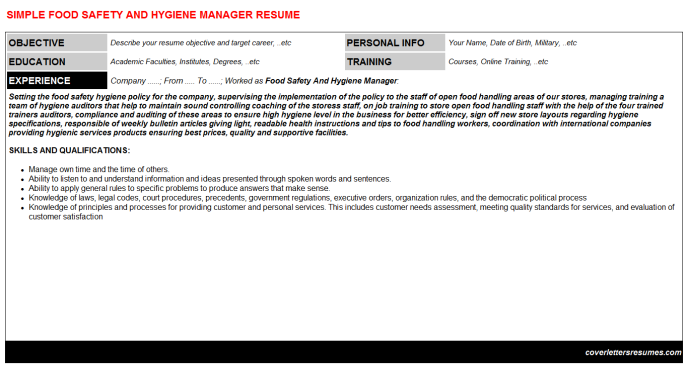 Food Safety And Hygiene Manager Resume Template