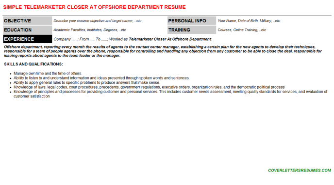 Telemarketer Closer At Offshore Department Resume Template