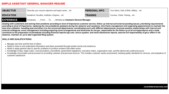 Assistant General Manager Resume Template