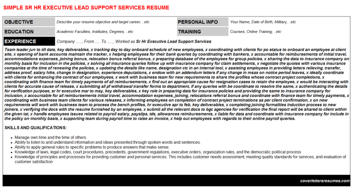 Sr Hr Executive Lead Support Services Resume Template