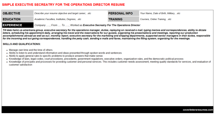 Executive Secreatry For The Operations Director Resume Template (#1829)