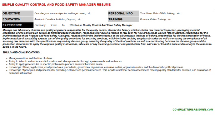 Quality Control And Food Safety Manager CV Resume