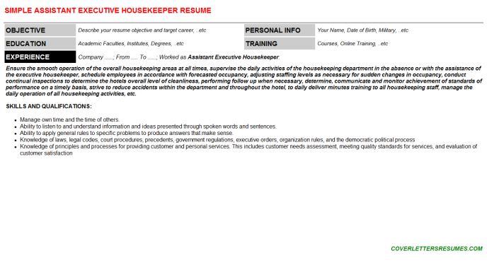 Assistant Executive Housekeeper Resume Template (#85331)