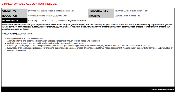 Payroll Accountant Resume Template (#35331)