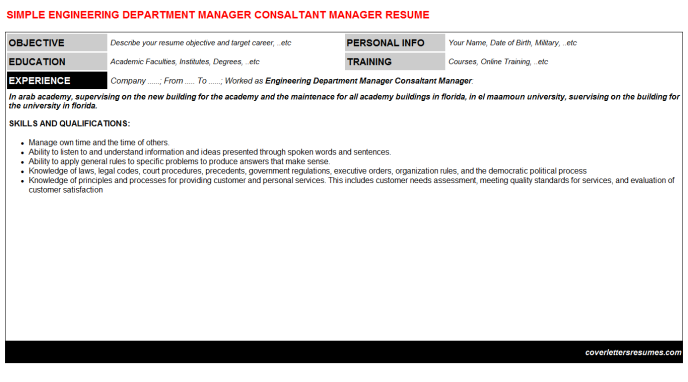 Engineering Department Manager Consaltant Manager Resume Template