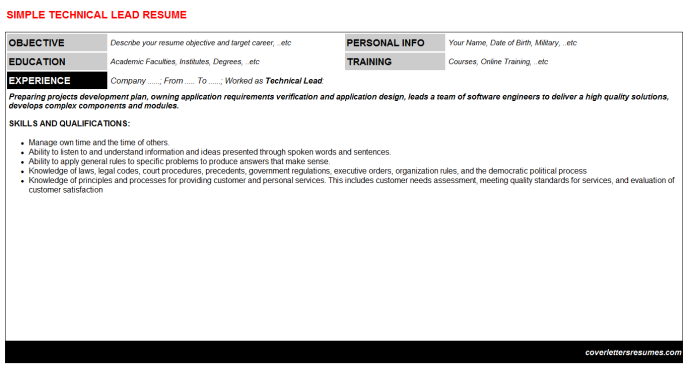 Technical Lead Resume Template