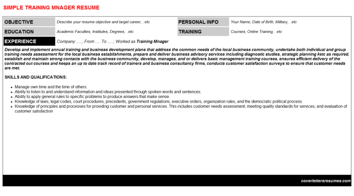 Training Mnager Resume Template