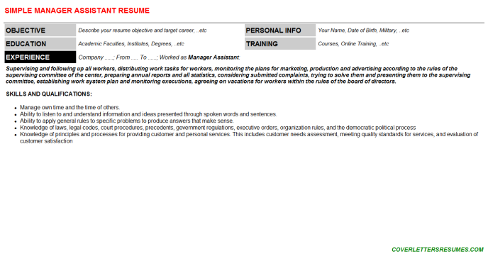 Manager Assistant Resume Template (#40833)