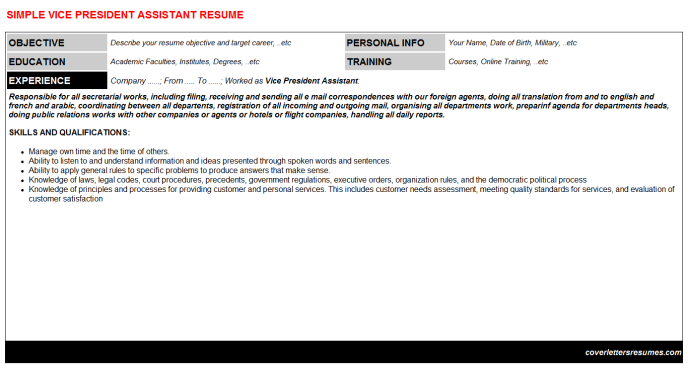 Vice President Assistant Resume Template