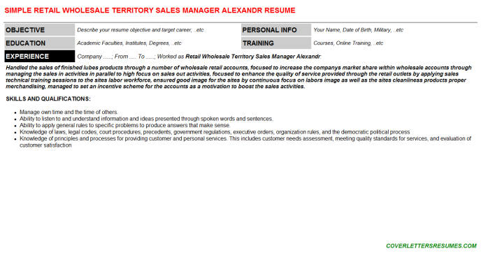 Retail Wholesale Territory Sales Manager Alexandr Resume Template (#130834)