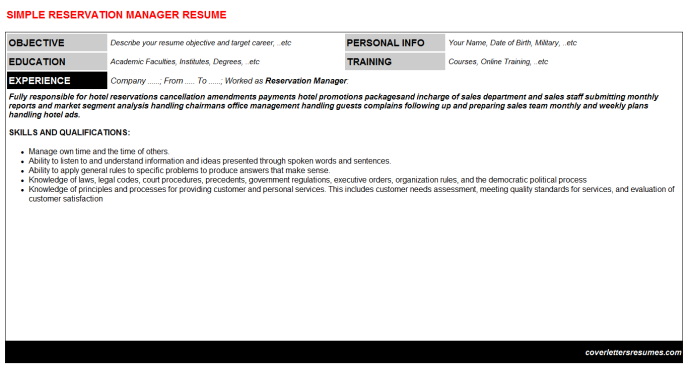 Reservation Manager Resume Template (#1835)
