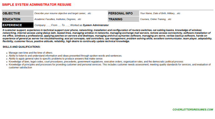 System Administrator Resume Template (#335)