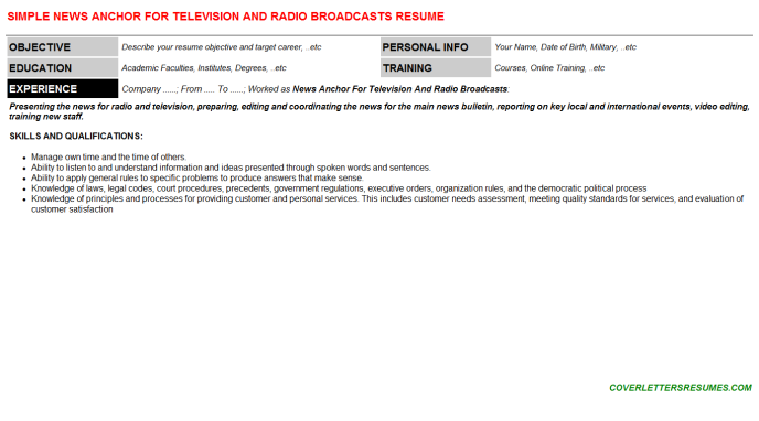 News Anchor For Television And Radio Broadcasts CV Cover ...