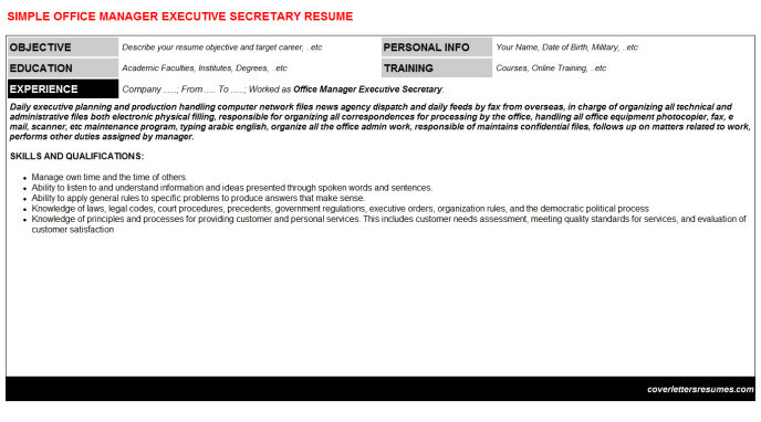 Office Manager Executive Secretary Resume Template
