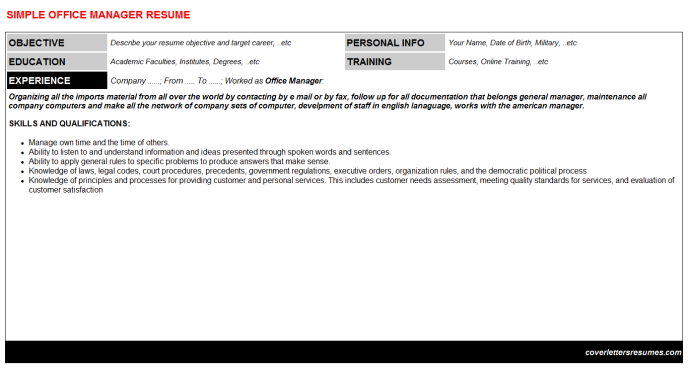 Office Manager Resume Template (#345)