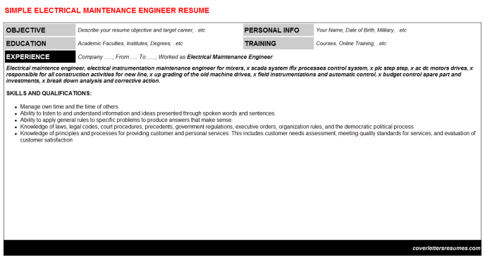 Electrical Maintenance Engineer Resume Template