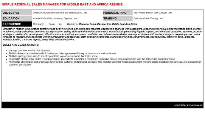 Regional Sales Manager For Middle East And Africa Resume Template